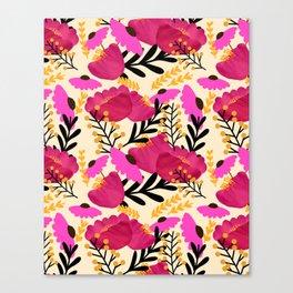Vibrant Floral Wallpaper Canvas Print