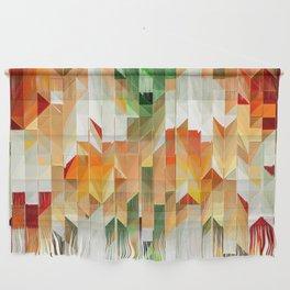 Geometric Tiled Orange Green Abstract Design Wall Hanging