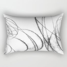 Minimalist Abstract Line Drawing in Black and White Rectangular Pillow