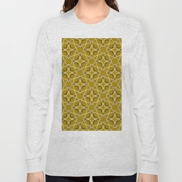 Moroccan pattern, Morocco. Patchwork mosaic with traditional folk geometric ornament black gold. Long Sleeve T-shirt