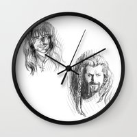fili Wall Clocks featuring Fili and Kili by Morgan Ofsharick - meoillustration