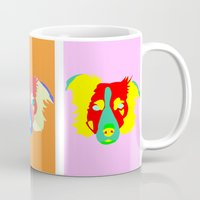 border collie Mugs featuring Border Collie Pop Art by Pound Designs