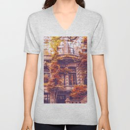 Dressed Up in Autumn - New York City Brownstones Unisex V-Neck
