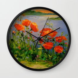 Poppies near the river Wall Clock