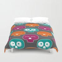 skulls Duvet Covers featuring Skulls by Michael Goodson