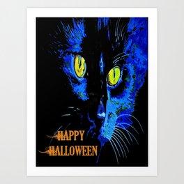 Black Cat Portrait with Happy Halloween Greeting  Art Print