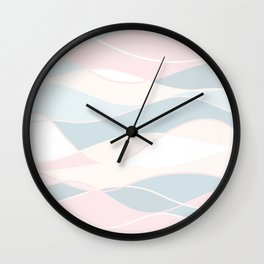 Pastel Waves // Beach Surf Light Colors Peach Blush Aqua Ocean Tides Vintage Surfing Vibes Wall Clock