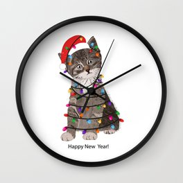 Cute cat with Santa Claus hat and light bulb Wall Clock