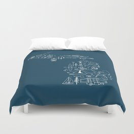 Michigan Up North Navy Collage Duvet Cover