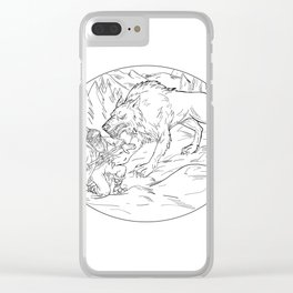 Fenrir Attacking Norse God Odin Drawing Black and White Clear iPhone Case