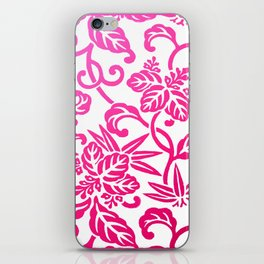 Pink White Ombre Japanese Leaf Pattern iPhone Skin