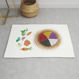 Watercolor Illustration of Five-color glutinous rice, which has five colors of black, red, yellow, white and purple. Rug