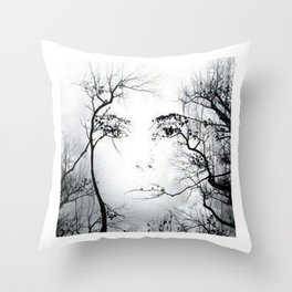 face in the trees Throw Pillow