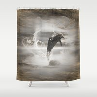 dolphin Shower Curtains featuring Dolphin by nicky2342