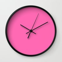 hot pink Wall Clocks featuring Hot pink by List of colors