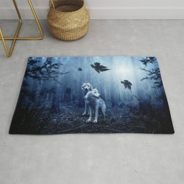 Wolfs in the blue forest Rug