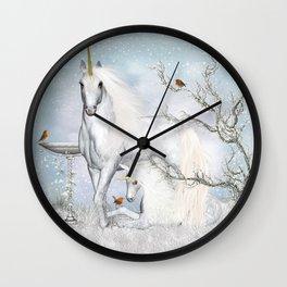 Winter Robins and Unicorns Wall Clock