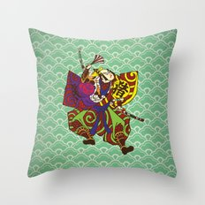 Samurai with vintage japan painting style Throw Pillow