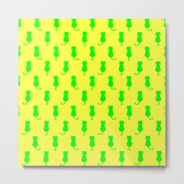 Polka Dot Pattern Cat In Lime and Yellow Metal Print