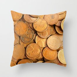 Watercolor Coins, Lincoln Wheat Pennies, 1952 01 Throw Pillow