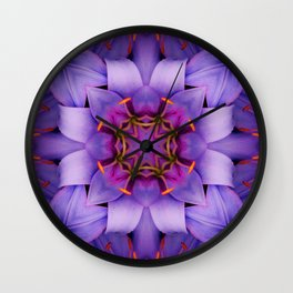 Purple Flower Kaleidoscope, Scanography Art Wall Clock