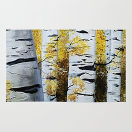 Birch Grove, acrylic painting, inspired by Belarus Rug