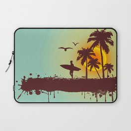 Sunny beach with palm surfer in Hawaii Laptop Sleeve