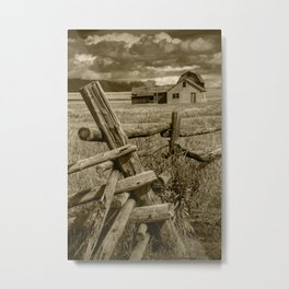 Sepia Toned Moulton Farm with Wood Fence in the Grand Teton National Park Metal Print