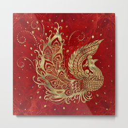 Golden Phoenix Bird on red Metal Print