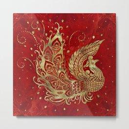Golden Phoenix Bird on red Metal Print