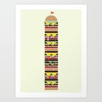 hamburger Art Prints featuring Hamburger by Dog A Day