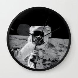 Apollo 12 - Face Of An Astronaut Moon Selfie Wall Clock