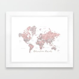 World map in dusty pink & grey watercolor, Adventure awaits Framed Art Print