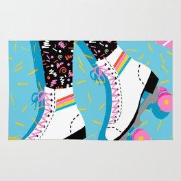 Steeze - 80's memphis rollerskating rad neon trendy art gifts throwback retro vibes Rug