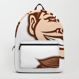 Funny Face Front Icon Retro Backpack