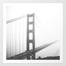 San Francisco, Golden Gate Bridge, Black and White, Fog, California, Pacific Ocean, Nature, USA Art Print