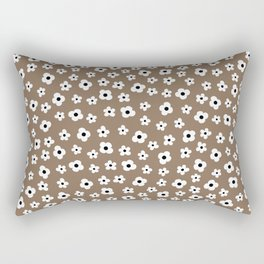 Coffee Brown White Flower Pattern Rectangular Pillow