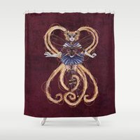 "sailormoon Shower Curtains featuring Steampunk Sailormoon by Barbora ""Mad Alice"" Urbankova"