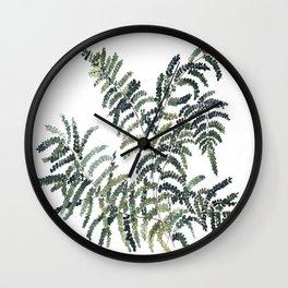 Woodland Fern Botanical Watercolor Illustration Painting Wall Clock