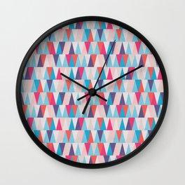 Blue & Pink Geometric Triangle Pattern Wall Clock