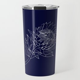King Protea Outline - Navy and White Travel Mug