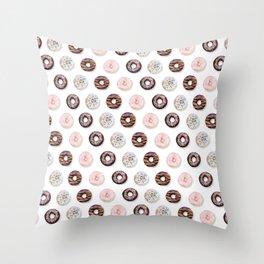 Donut Pattern white Throw Pillow