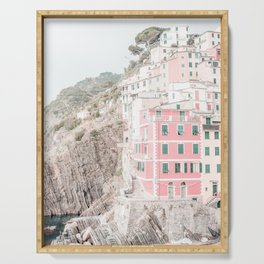 Positano, Italy pink-peach-white travel photography in hd. Serving Tray
