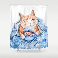 Happy Cat Drinking Hot Chocolate Shower Curtain