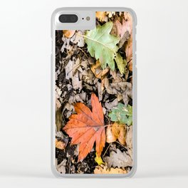 Autumnal leaves on the ground Clear iPhone Case