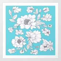 Floral in Turquoise Art Print