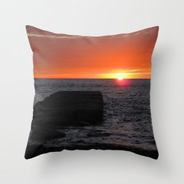 Watercolor Sunset, Cape Breton 05, Nova Scotia, Canada Throw Pillow