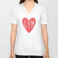 gym V-neck T-shirts featuring Gym  by design make create