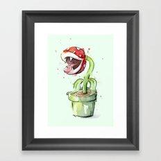 Piranha Plant Watercolor Geek Gaming Mario Art Framed Art Print