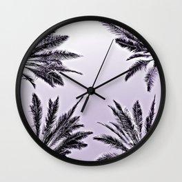 4 Palms in Purple Wall Clock